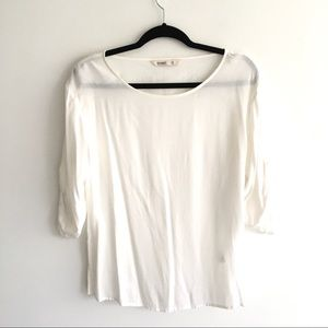 OLD NAVY Cream Popover Blouse Roll Sleeves XS